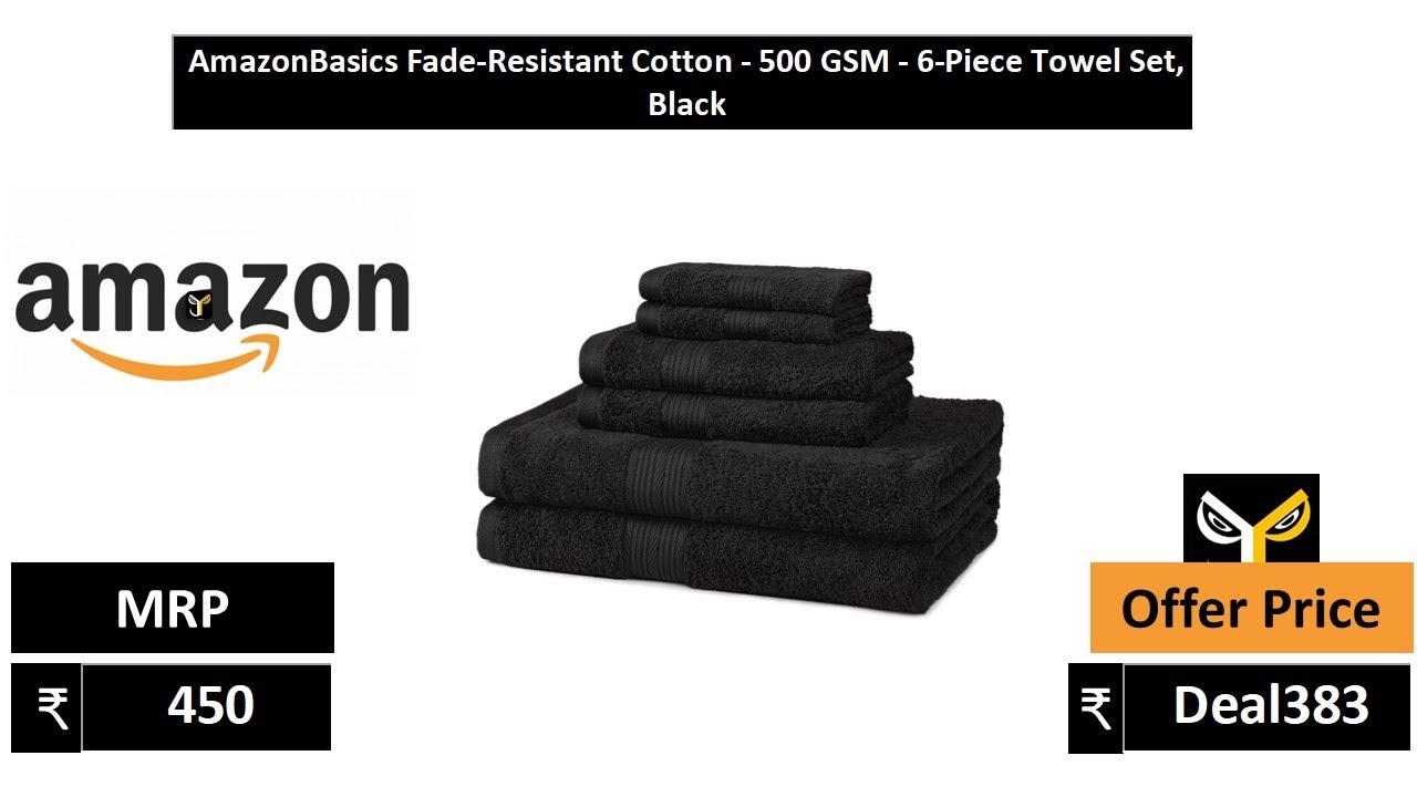 AmazonBasics Fade Resistant Cotton 500 GSM 6 Piece Towel Set, Black -  YouTube