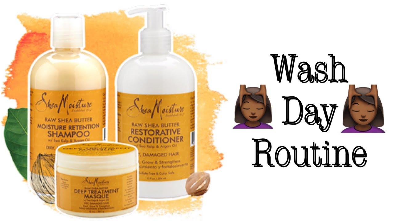 Natural Hair Wash Day: Using Shea Moisture| Raw Shea Butter Moisture  Retention Line - YouTube